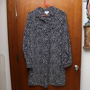 Black & White Heart Print Long Sleeve Shirt Dress